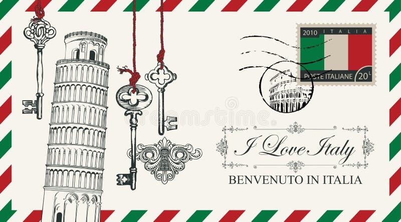 Busta o cartolina di vettore con la torre di Pisa illustrazione vettoriale