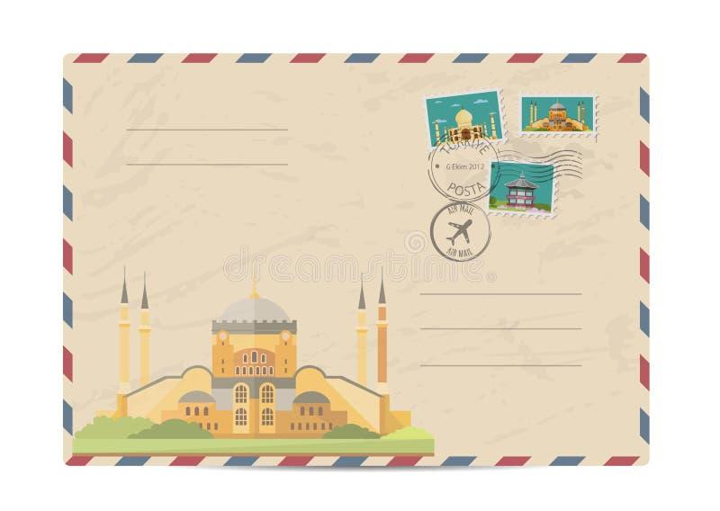 Busta postale d'annata con i bolli illustrazione di stock