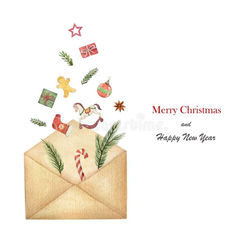 Busta postale di vettore dell'acquerello con i rami attillati verdi con i regali ed i giocattoli illustrazione di stock