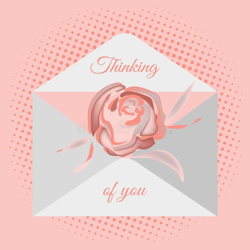 Busta postale tradizionale con il desiderio romantico Immagine dei fiori delle rose e dei cuori Disegno di vettore per la progett illustrazione vettoriale