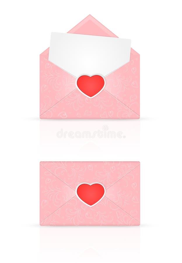 Busta rosa con cuore rosso e gli elementi decorati royalty illustrazione gratis