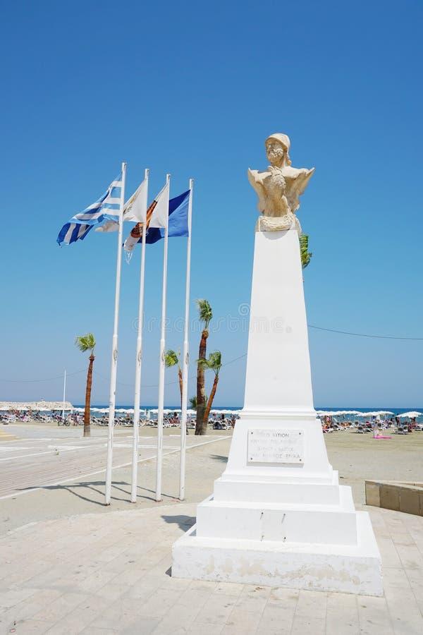 Buste de Cimon, général athénien, sur la promenade de Phinikoudes photo libre de droits