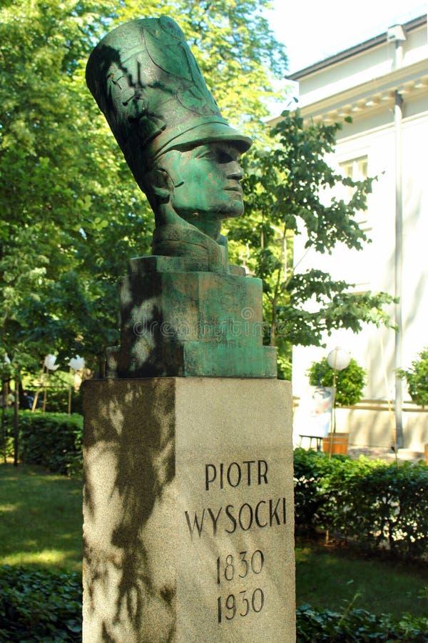 Buste de Piotr Wysocki à Varsovie, Pologne photos stock