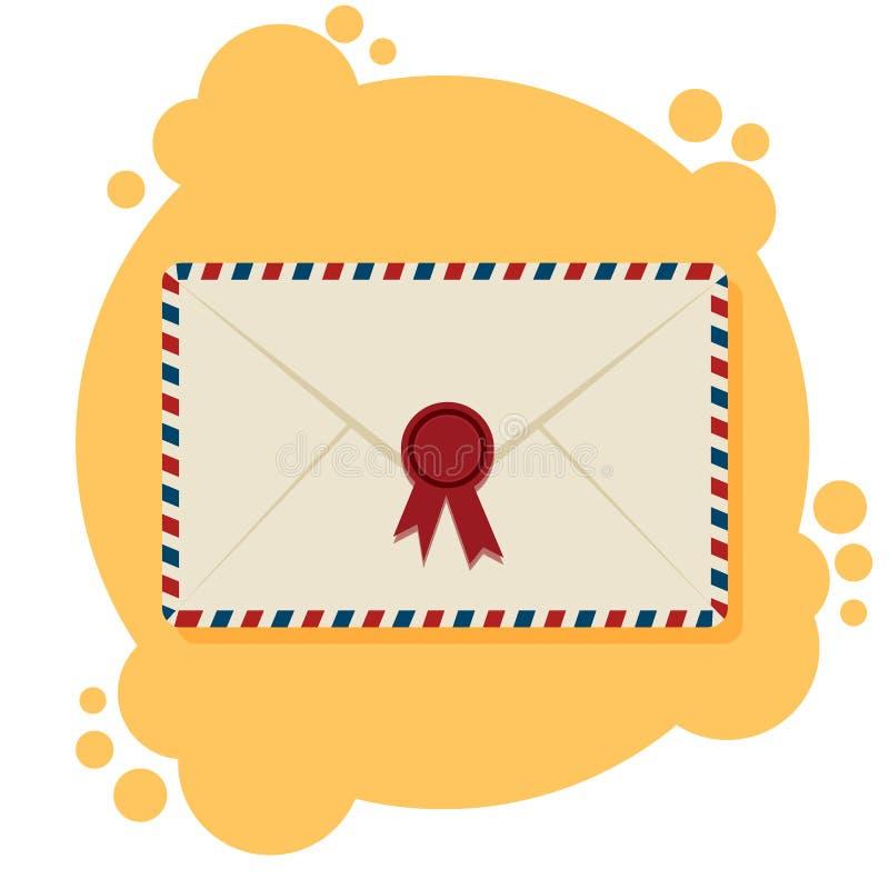 Buste della posta aerea, bolli postali, sui precedenti gialli e bianchi, illustrazione illustrazione di stock