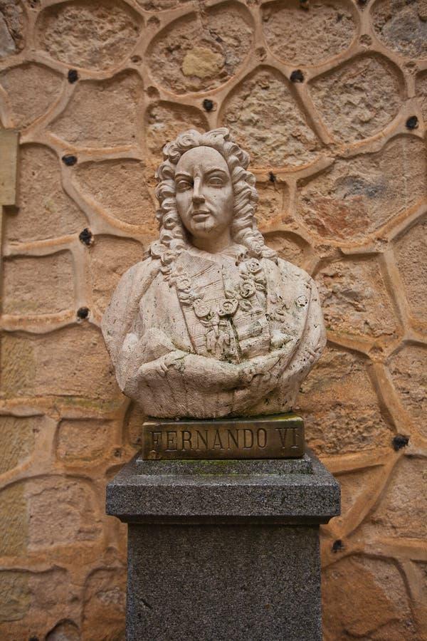 Buste du Roi espagnol Ferdinand VI les instruits dans le château d'Alcazar, photos stock