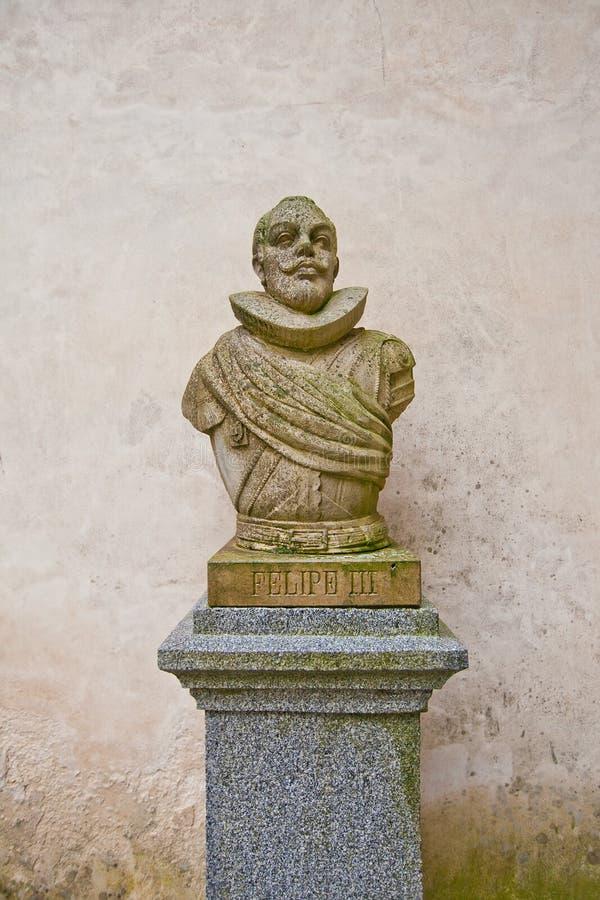 Buste du Roi espagnol Philip III dans le château d'Alcazar, Ségovie image stock