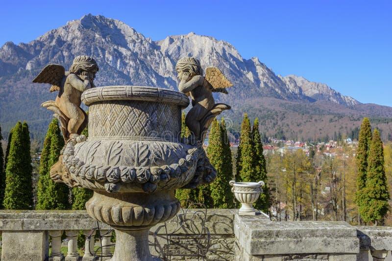Outdoor sculpture in the garden of Cantacuzino Castle. BUSTENI, ROMANIA - NOVEMBER 9, 2018. Cantacuzino Palace in Busteni mountain resort , Prahova ,Romania stock image