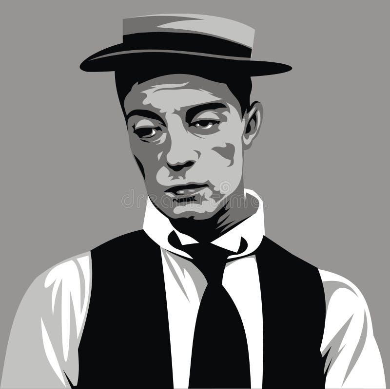Buster Keaton - min original- karikatyr royaltyfri illustrationer