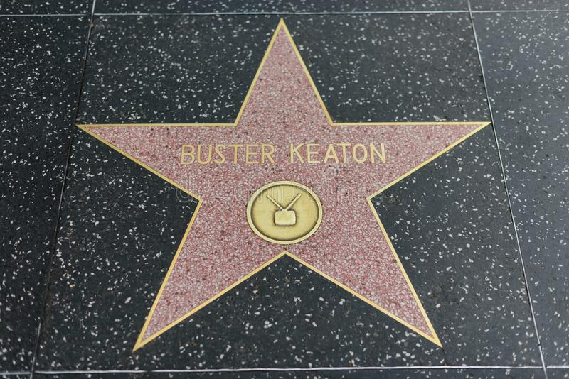 Buster Keaton star on the Hollywood Walk of Fame. HOLLYWOOD, CA - DECEMBER 06: Buster Keaton star on the Hollywood Walk of Fame in Hollywood, California on Dec stock photography