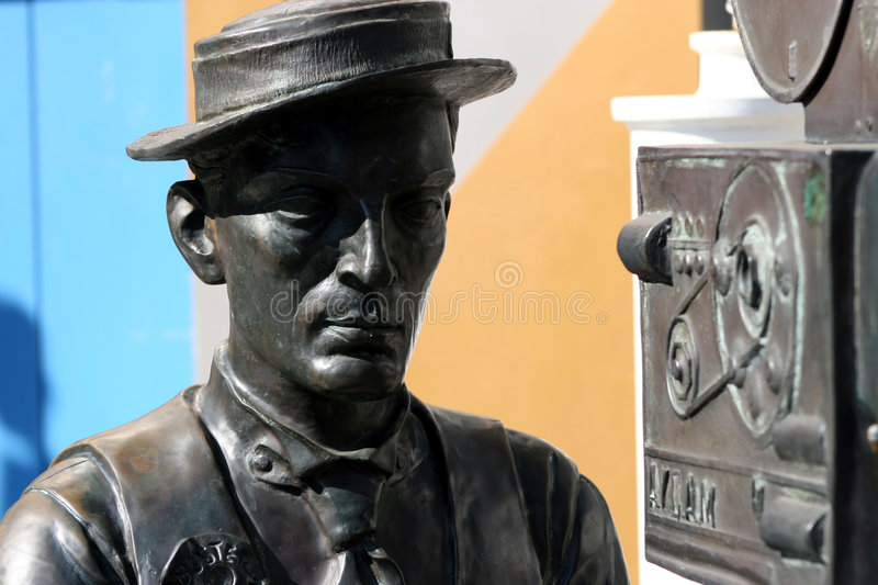 Buster Keaton statue. Statue of actor and filmmaker Buster Keaton with movie camera royalty free stock photos