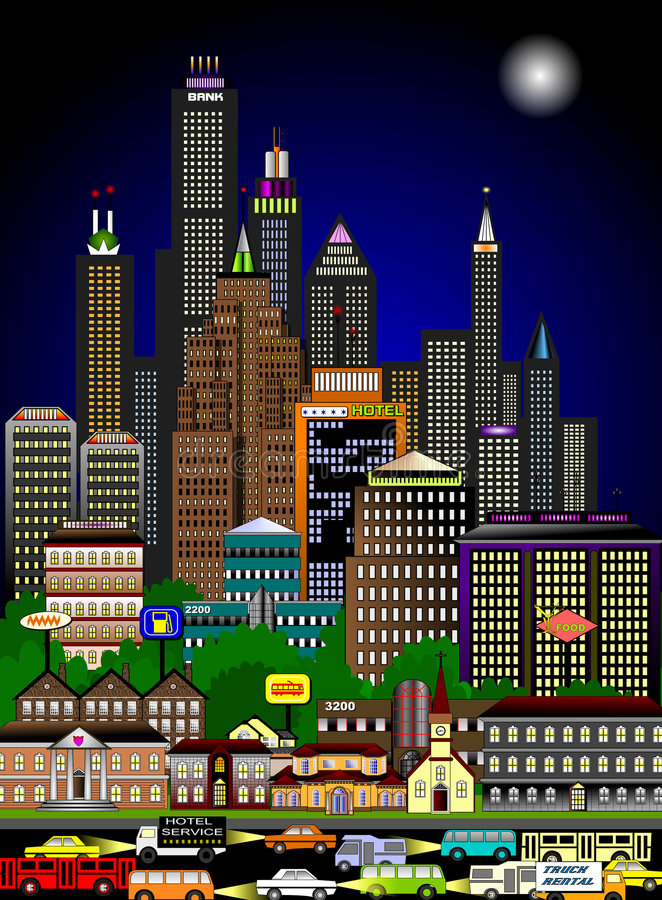 Bustling cityscape in the night stock illustration