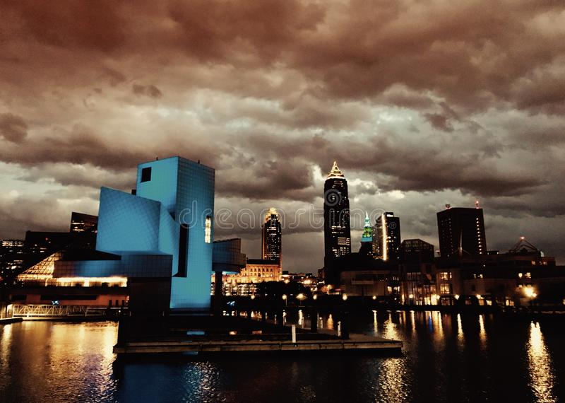 Amazing clouds over Downtown Cleveland - CLEVELAND _ OHIO. The bustling downtown core is known for sports venues like the Q Arena, hosting Cavaliers basketball royalty free stock images