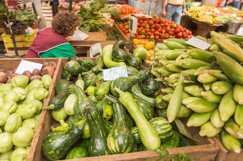 Bustling fruit and vegetable market in Funchal Madeira.  royalty free stock photo