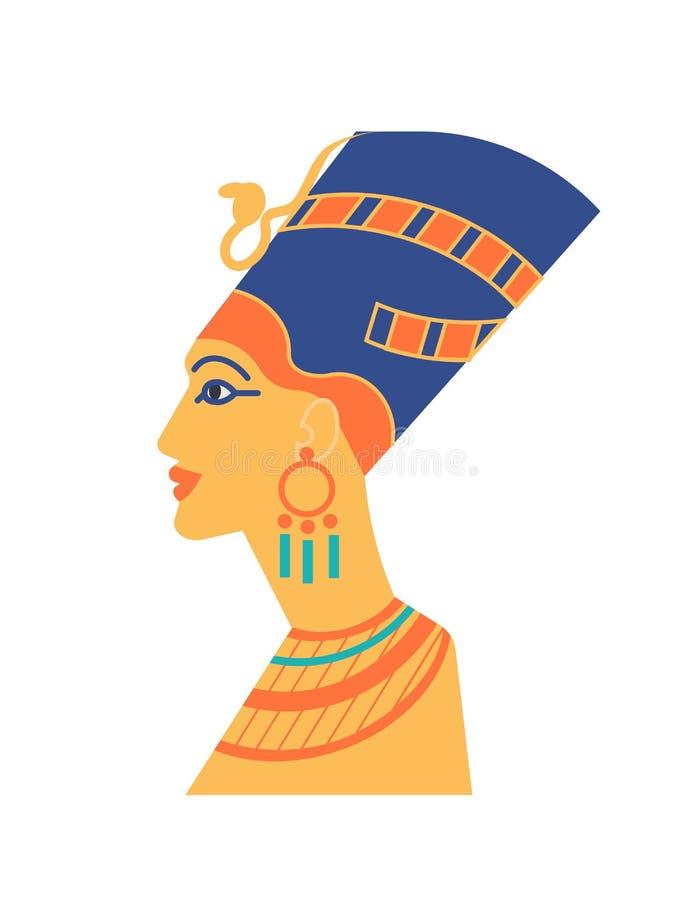 Busto antigo de Nefertiti ou Neferneferuaten - faraó, rainha de Egito, ícone da beleza Escultura da cabeça da mulher s ilustração royalty free
