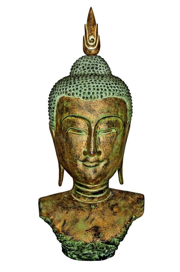 Busto da Buda no ouro e na pátina fotografia de stock royalty free