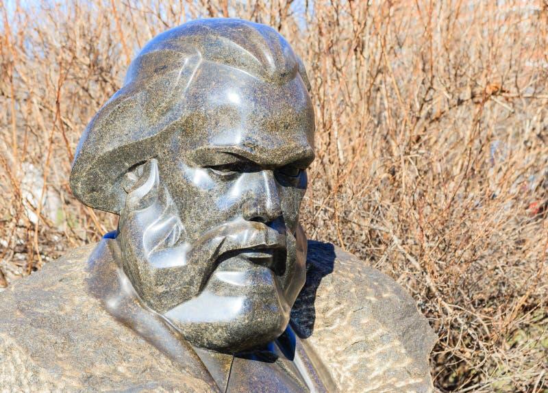 Busto de Carl Marx Parque de ` de Museon del ` de los artes Moscú, imagenes de archivo