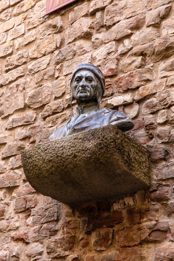 Busto de Dante Alighieri fotos de archivo libres de regalías