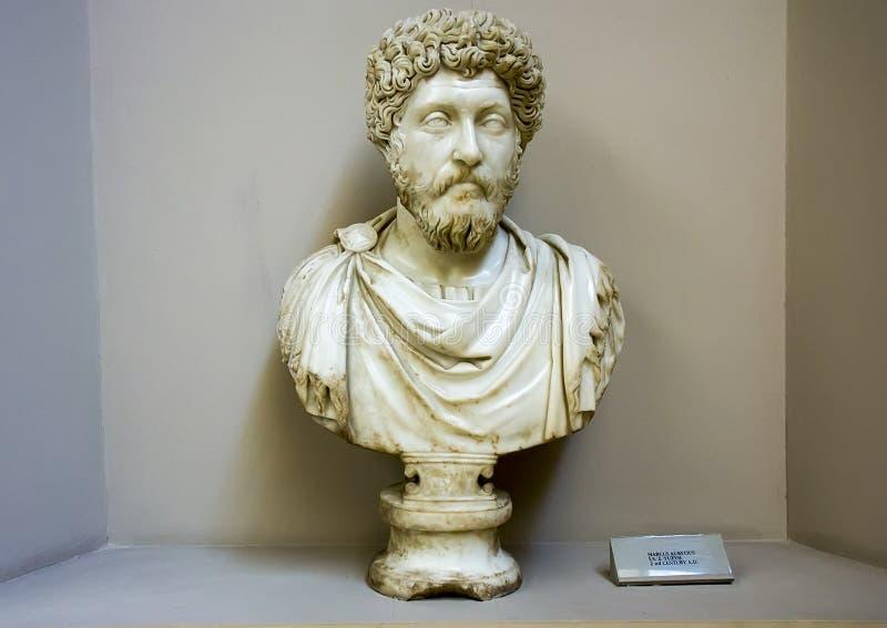 Busto de mármore de Marcus Aurelius, museu arqueológico de Ephesus fotos de stock