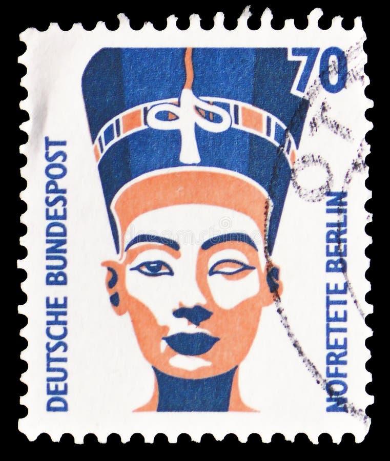 Busto de Nefertiti, serie das vistas do turista, cerca de 1988 imagens de stock