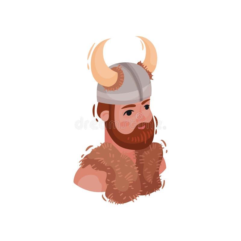 Busto de un vikingo islandés en un casco Ilustraci?n del vector stock de ilustración