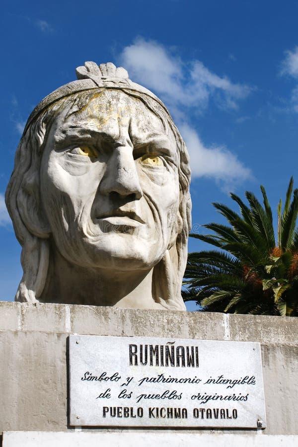 Busto del guerrero Ruminawi del inca, asesinado 1535 por el español imagen de archivo libre de regalías