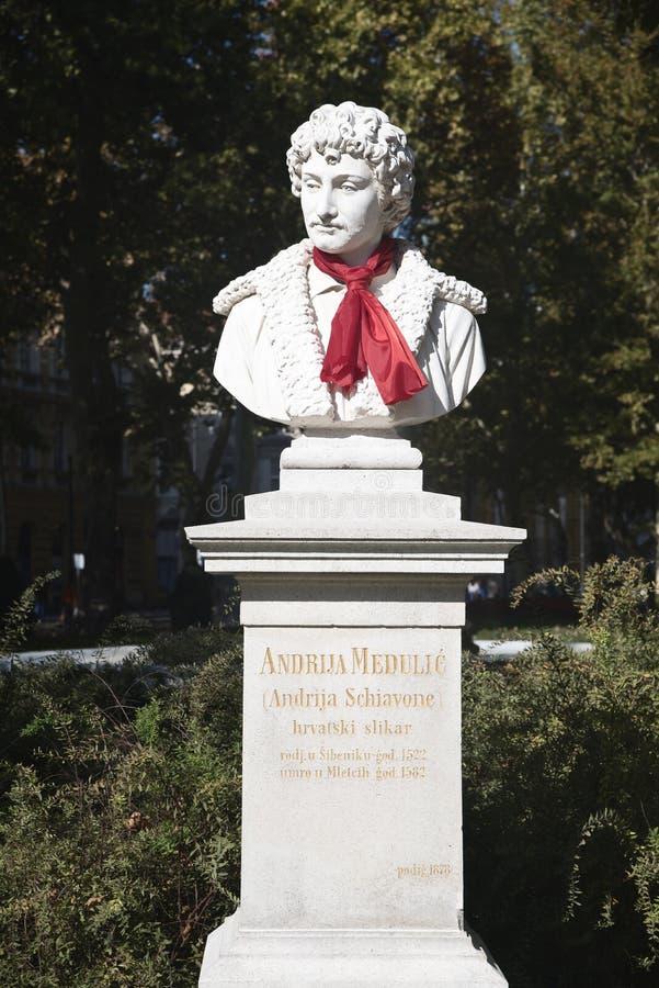 Busto di Andrija Medulic nel parco di Zrinjevac in città di Zagabria, Croazia immagini stock libere da diritti