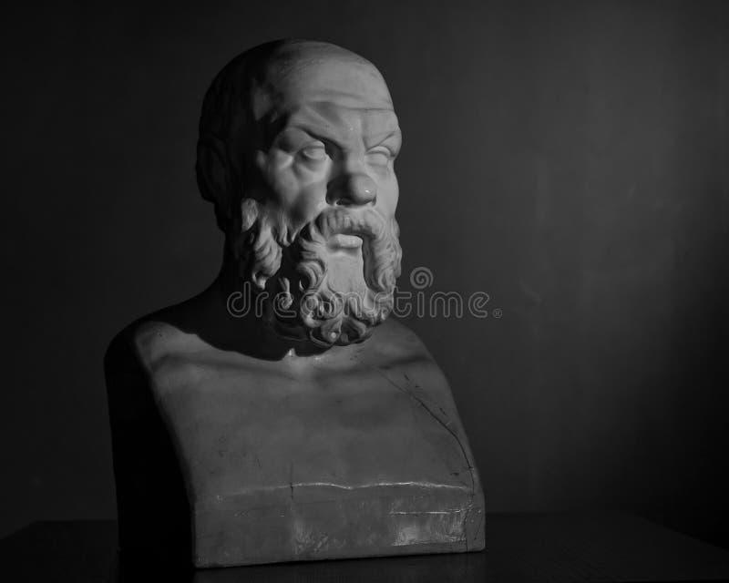 Busto do emplastro de Socrates fotos de stock