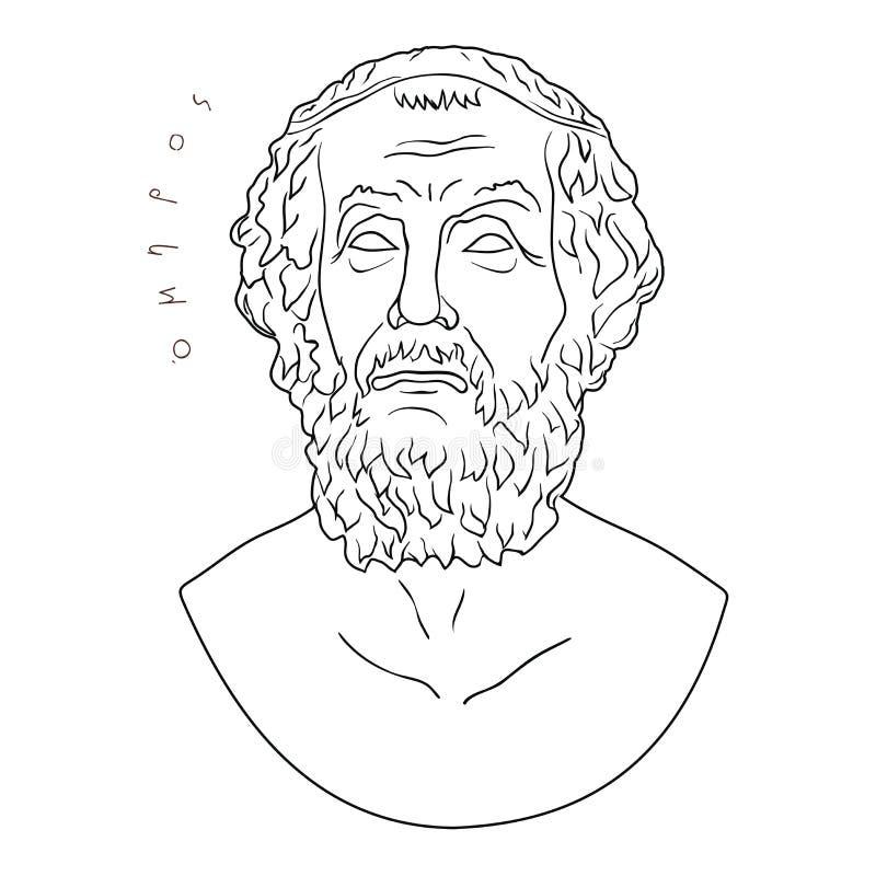 Busto do poeta grego Homer ilustração royalty free
