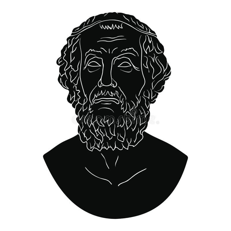Busto do poeta grego Homer ilustração do vetor