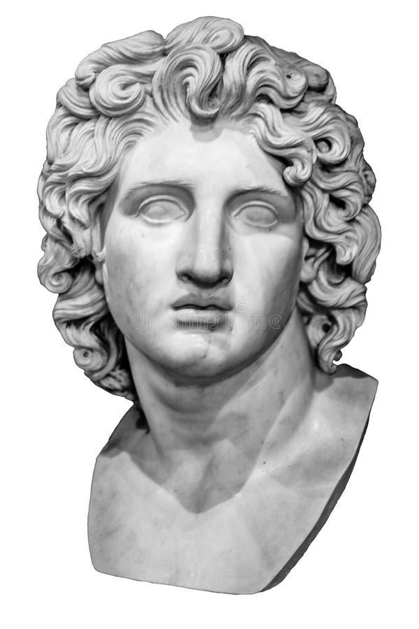 Busto isolado de Alexander o grande imagens de stock