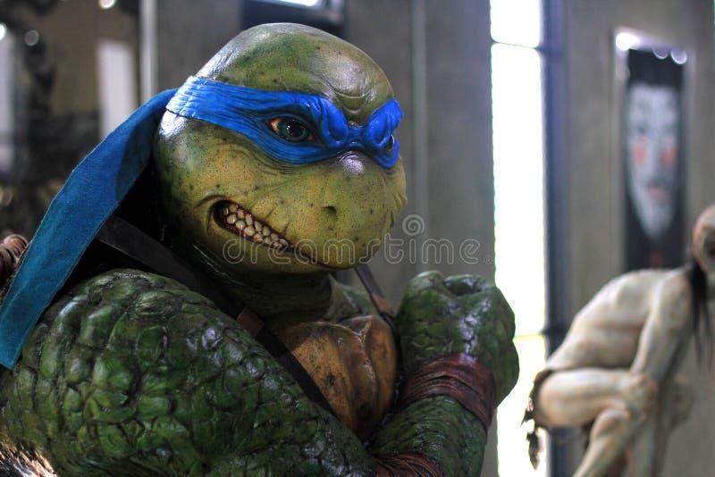 Busto Ninja Turtles Figure Model na exposição no M Cafe imagem de stock royalty free