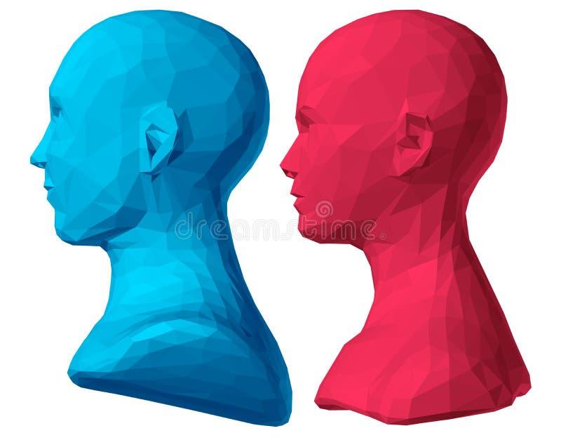 Busto poligonale del maschio e della femmina illustrazione di stock
