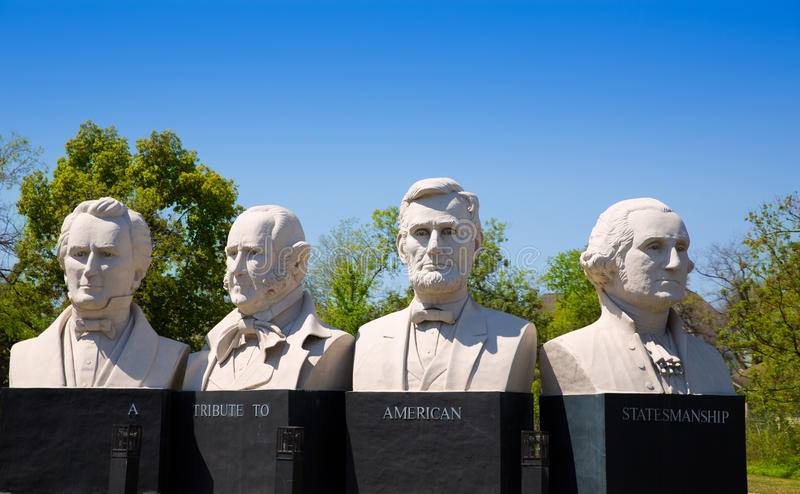 Busts of four statesmen carved statues on Houston. I-45 royalty free stock photo