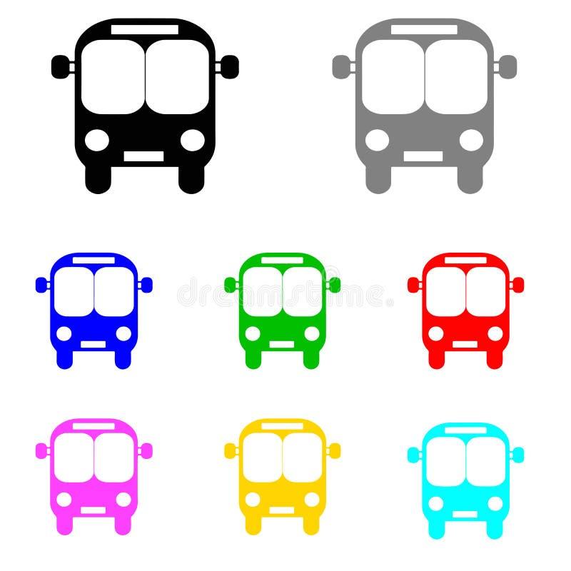 Busvector in veelvoudige kleuren wordt geplaatst die royalty-vrije illustratie