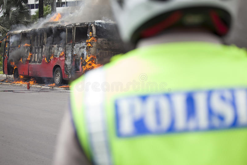 Download Busway Jakarta Burning editorial photo. Image of fire - 25172151