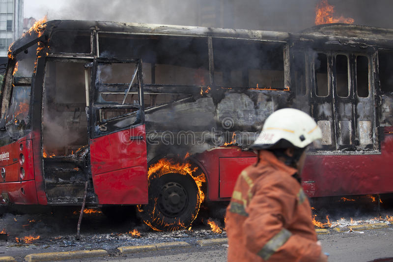 Busway Jakarta Burning stock photos