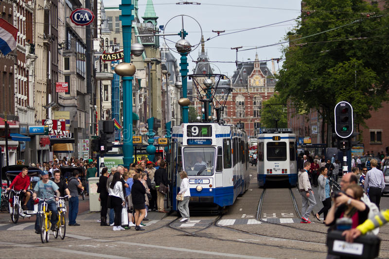 Download Busy Amsterdam editorial stock photo. Image of damrak - 26563968