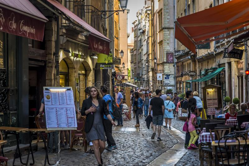 Busy atmospheric street in Vieux Lyon, Lyon, France royalty free stock images