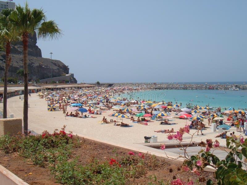 Busy Beach In Puerto Rico Stock Photos