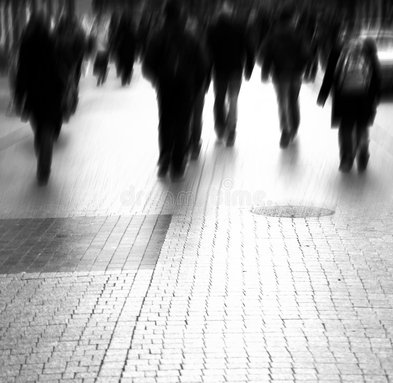 Busy big city street. Motion blurred with lens royalty free stock image