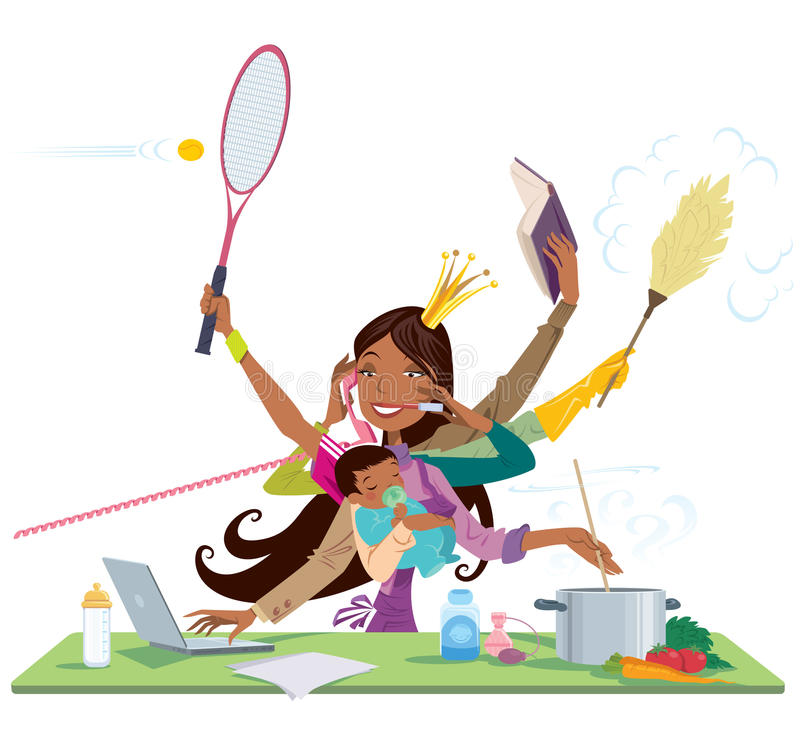 Busy black woman and mother multitask between work and baby. Busy african american pretty black young mom doing simultaneously many things cooking cleaning vector illustration