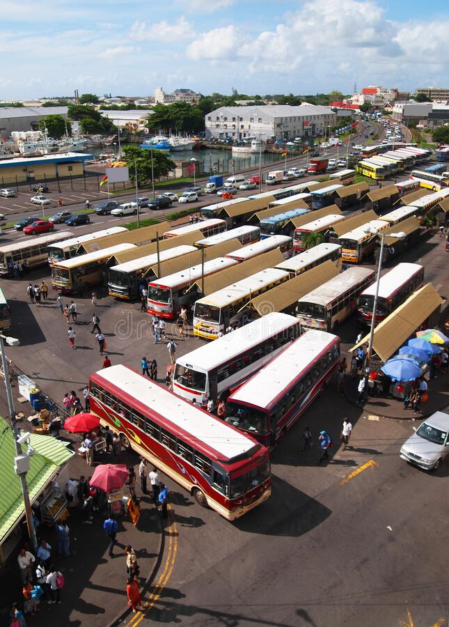 Busy bus station in Port-Louis Mauritius stock image