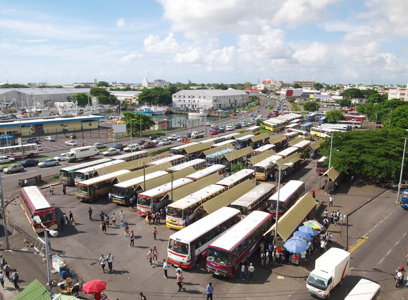 Busy bus station in Port-Louis Mauritius stock photos