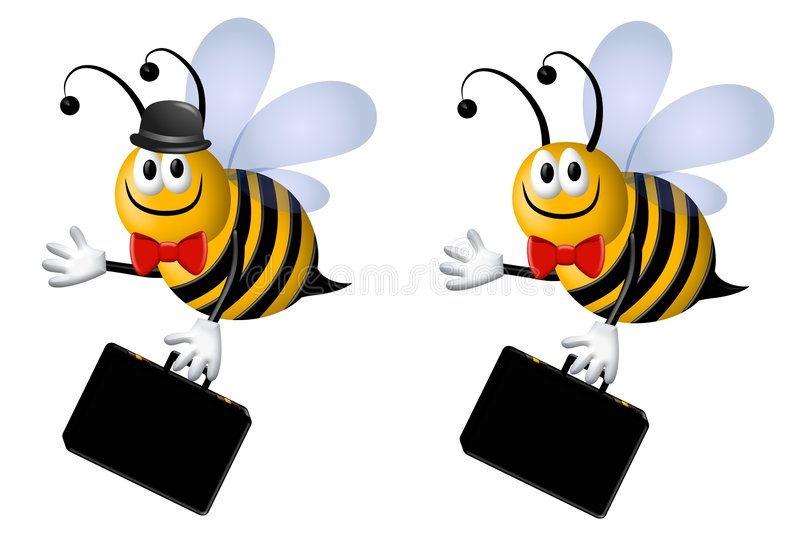 Busy Business Bee. A clip art illustration featuring your choice of busy bee business cartoon characters - one with hat and one without carrying briefcases and