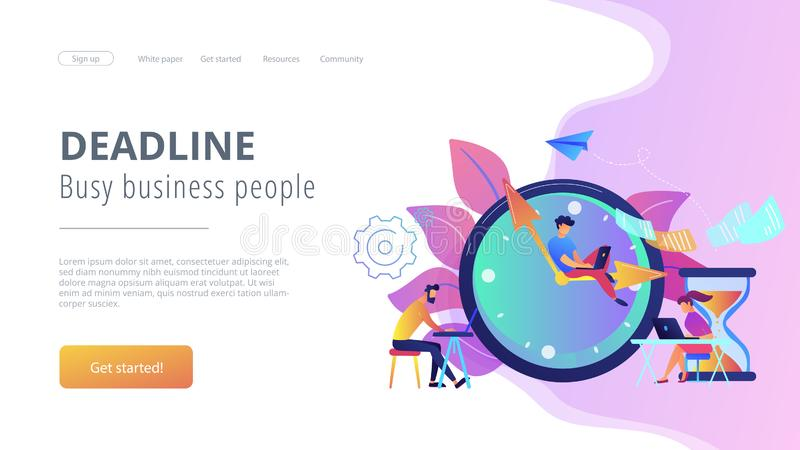 Deadline concept landing page. Busy business people with laptops hurry up to complete tasks at huge clock and hourglass. Deadline, project time limit, task due royalty free illustration