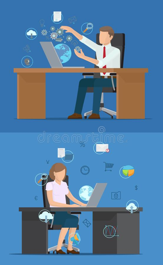 Busy Business People and Set of Technology Logos. Vector illustration with cloud globe gears and arrows, percents and graphics and other tech icons stock illustration