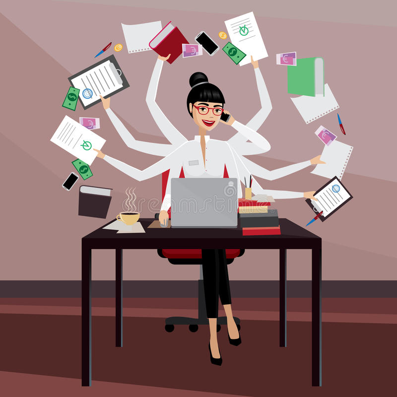 Busy business woman. Multitasking business woman working in the workplace vector illustration
