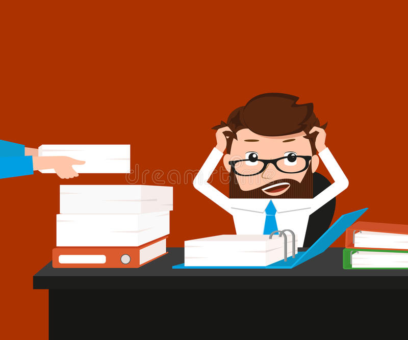 Busy businessman. Has a lot work. Conceptual illustration stock illustration