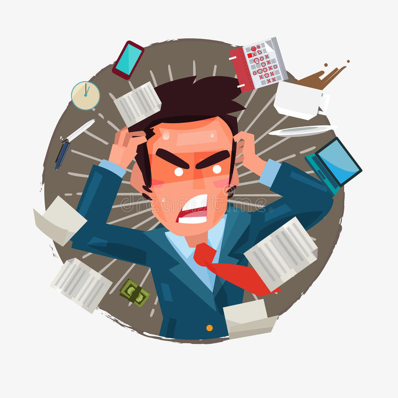 Busy businessman with a lot of works to do. character design - vector illustration