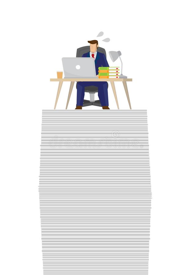 Busy businessman on top of a giant stack of papers and documents. Stress at work. Concept of overwork, overload and corporate problem. Isolated vector stock illustration